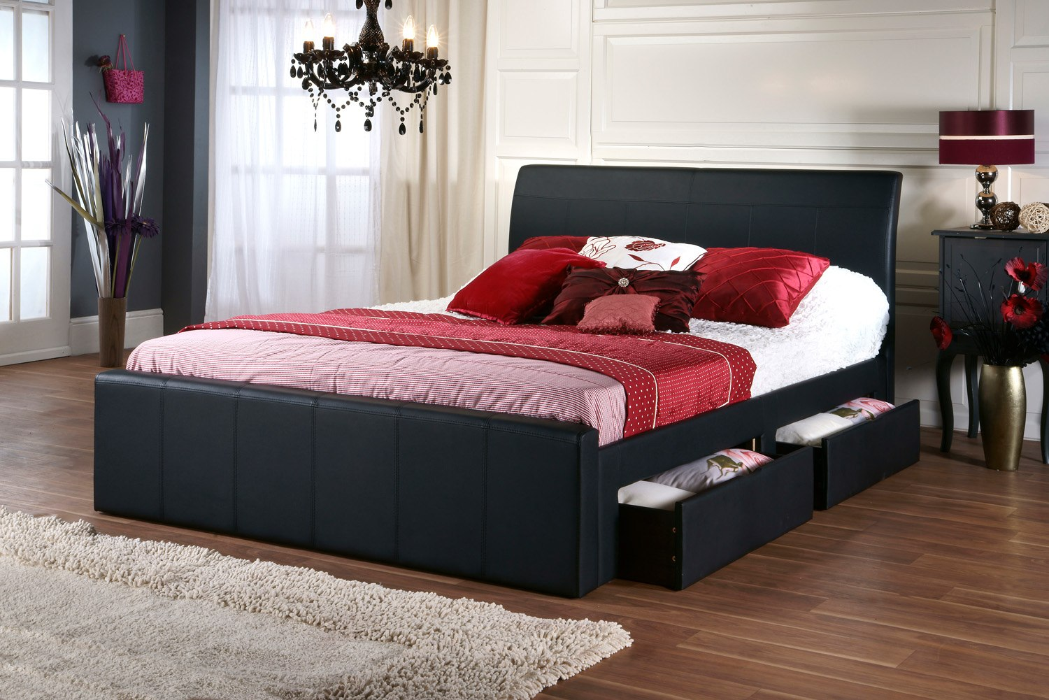 Dreamland sophia white faux leather bed frame the world of beds - Black leather bed with drawers ...