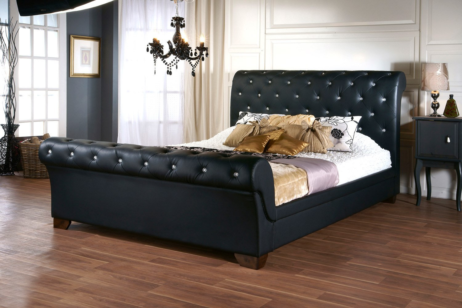 dreamland elizabeth diamond black faux leather bedframe available from the world of beds askern - Leather Bed