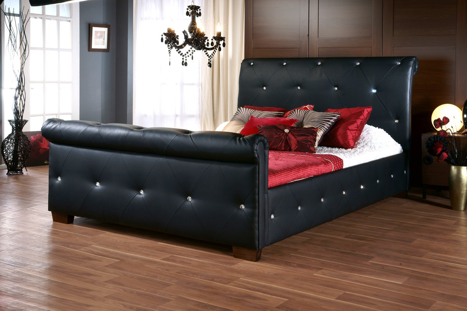 sargaris black faux leather bedframe available from the world of beds askern doncaster