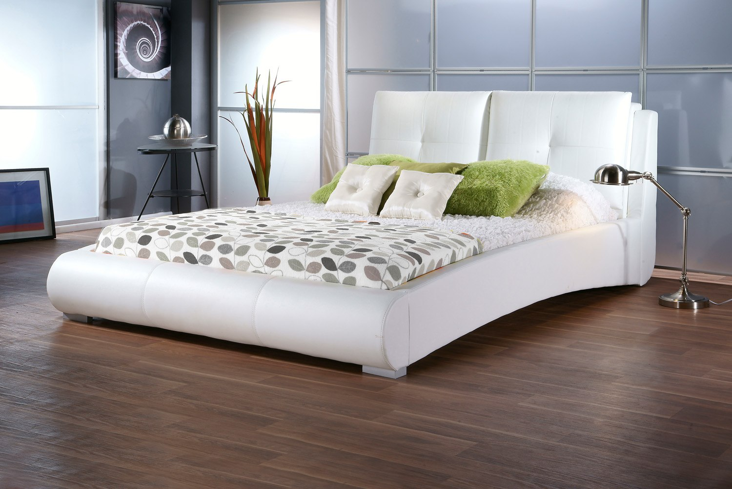 sophia white faux leather bedframe available from the world of beds askern doncaster