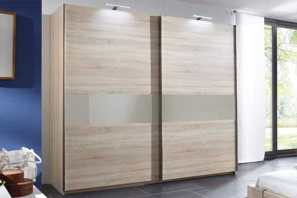 Crowther Oak Cappuccino Glass 2 Sliding Door Wardrobe The World