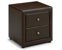 Julian Bowen Brown Faux Leather Bedside availablef from the world of beds, doncaster