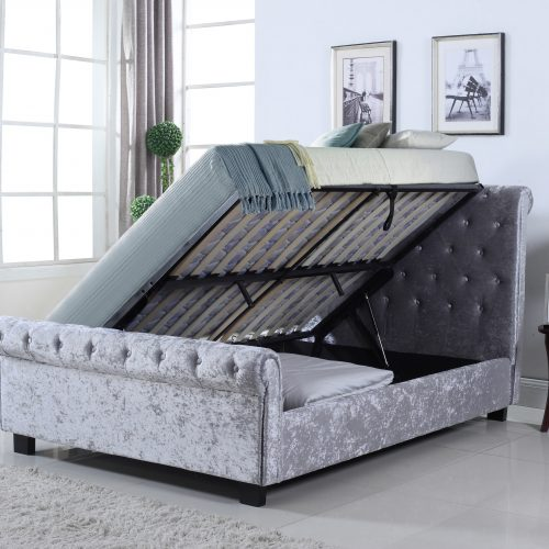 Chesterfield Crushed Velvet Side Ottoman Storage Bed King Size